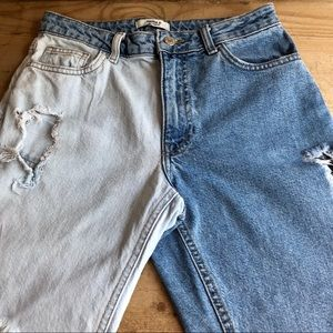 Forever 21 Two Tone Ripped High Waste Jeans 26